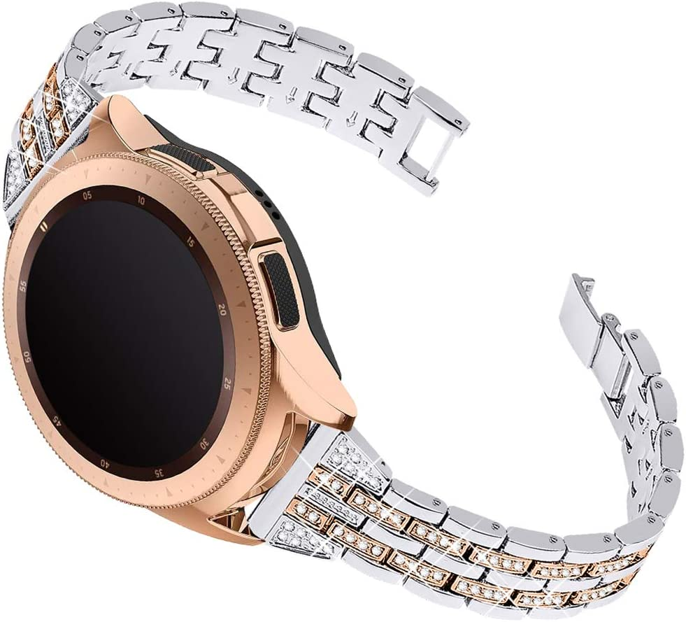 Joyozy Women Girls Stylish Band for Galaxy Watch (42mm)/Galaxy Watch3(41mm)/Active/Active2, Stainless Steel 20mm Jewelry Watch Band Wrist Strap Rhinestones Bracelet-(More Silver+Champagne Gold)