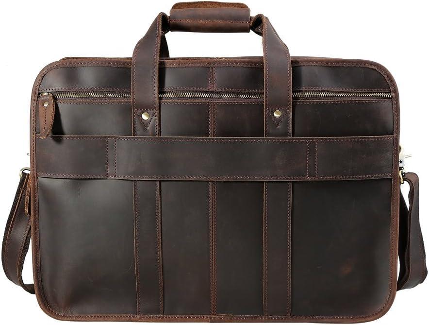 Genda 2Archer Leather Briefcase Shoulder Bag Business Work Bag for Men Brown