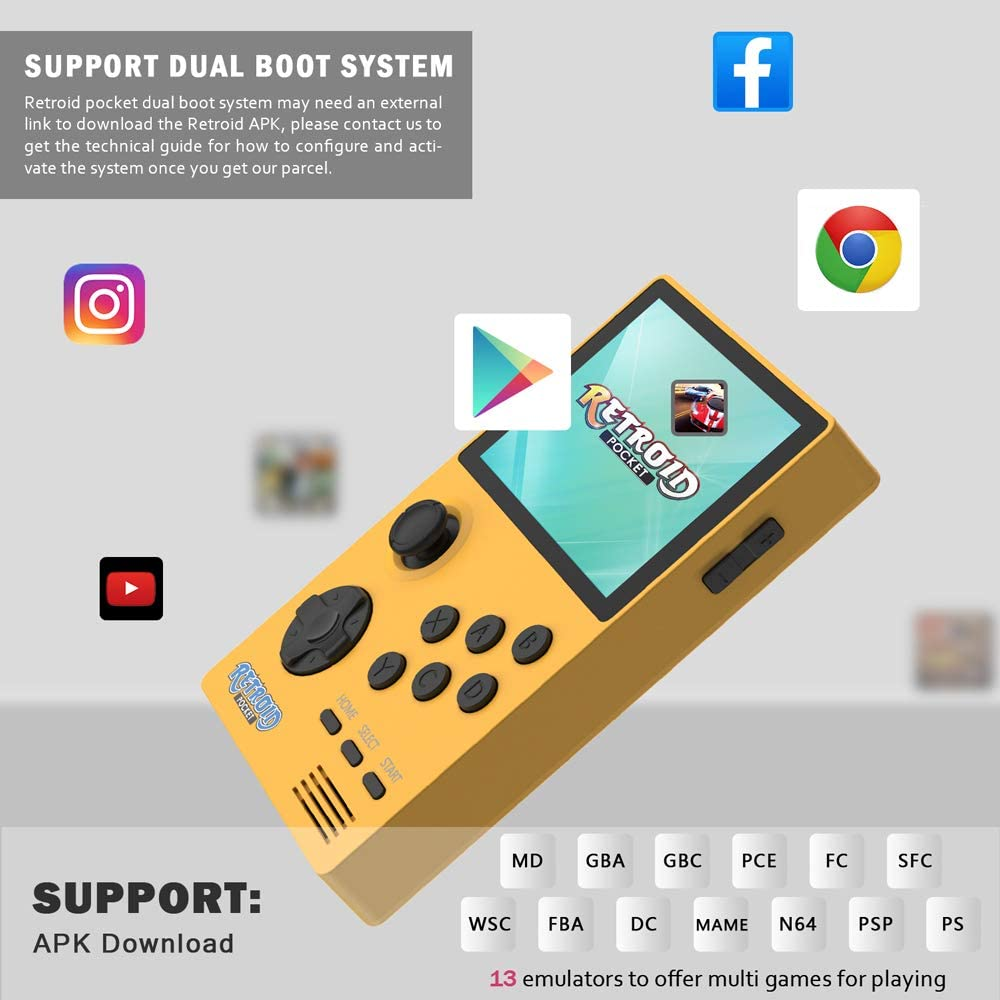 Best Gift for Birthday and Christmas Support WiFi /& Bluetooth NEXADAS Handheld Game Console Blue 32GB Version Retro Mini Game Player with 3.5 Inch Screen 4000mAh Rechargeable Battery