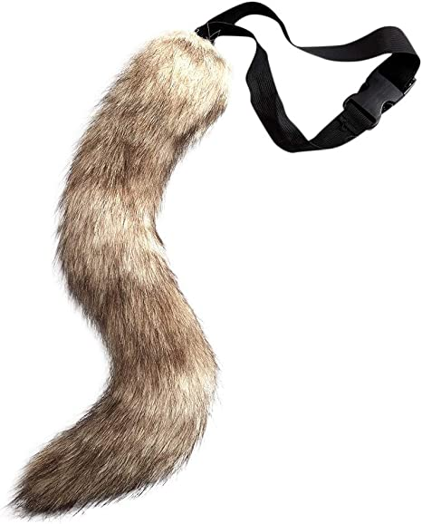 """Womens White Animal Kitty Cat Tail 12/"""" Long Halloween Costume Accessory Prop"""