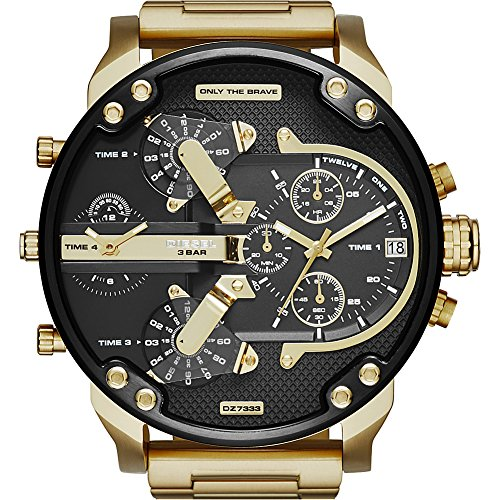 Diesel Watch Chronograph (Diesel Men's Mr Daddy 2.0 Quartz Stainless Steel Chronograph Watch, Color Gold-Tone (Model: DZ7333))