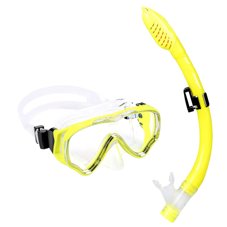 UPhitnis Kids Snorkel Set - Dry Top Snorkel Mask with Big Eyes for Childs, Boys, Girls - Anti-Fog and Anti-Leak Snorkeling Mask and Snorkel for Children Age 4-12