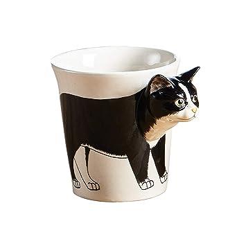 Taza de café de cerámica con gato hecha a mano, cerámica, negro y blanco: Amazon.es: Hogar