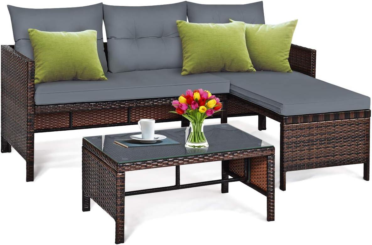 Tangkula Patio Corner Sofa Set 12 Piece, Outdoor Rattan Sofa Set, Includes  Lounge Chaise, Loveseat & Coffee Table, Patio Garden Poolside Lawn Backyard