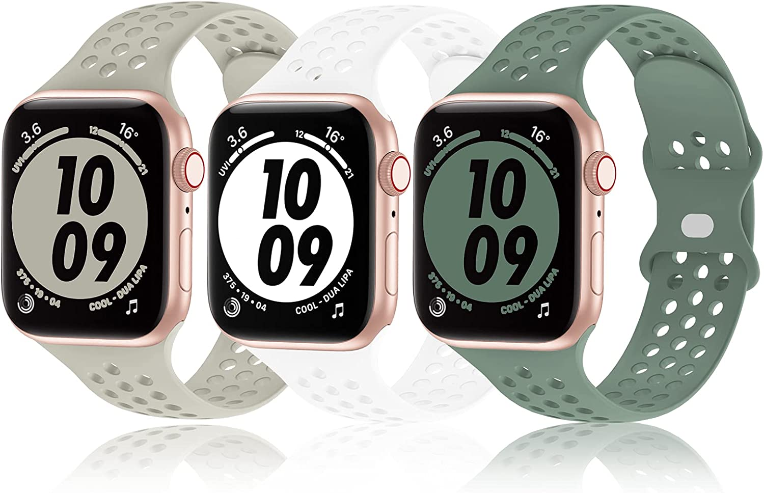 Bandiction 3-Pack Sport Band Compatible with Apple Watch 38mm 40mm 42mm 44mm for Men Women,Silicone wristbands strap Replacment for iwatch SE/Series 6/5/4/3/2/1
