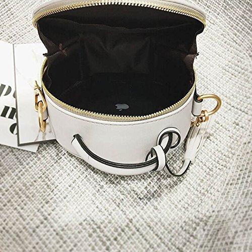 la la de de bordado PU bolso la cuero del las cadena de hombro flor del de de del Majome Blanco la mujeres borla de Bolso redondo BnqaHwwtv