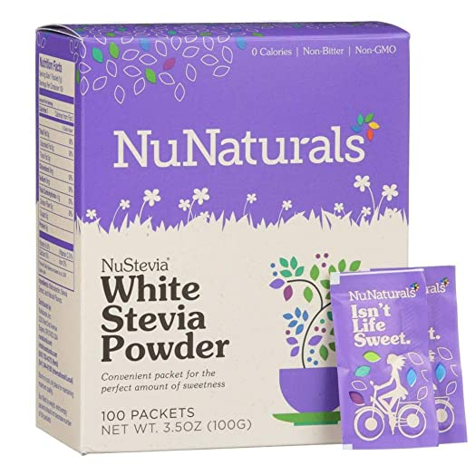 NuNaturals White Stevia Powder, All Purpose Natural Sweetener, Sugar-Free, 100 Packets