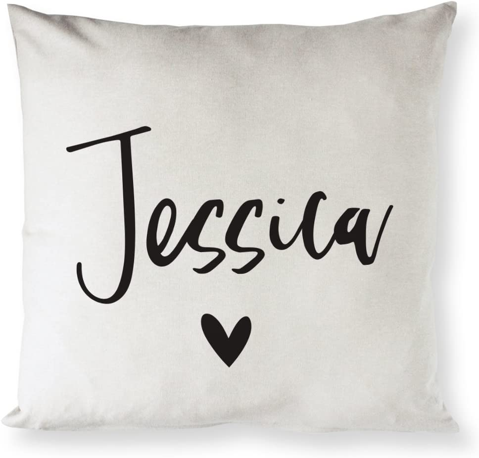 The Cotton & Canvas Co. Personalized Name Home Decor Pillow Cover, Pillowcase, Cushion Cover and Decorative Throw Pillow Case (Natural Color, Not White)