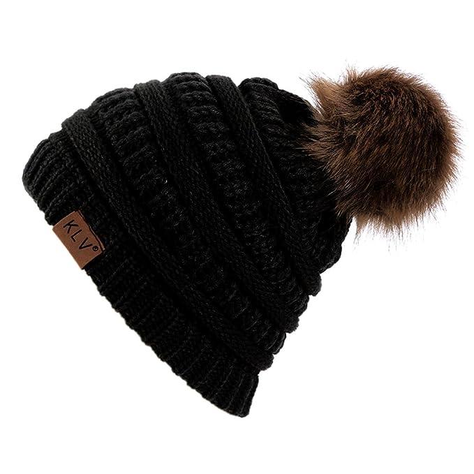 4ef94d1c44d New Adult Unisex Knitted Winter Warm Large Faux fur Beanie Pom Pom Hat SKI  Snowboard Hats (Black)  Amazon.co.uk  Clothing