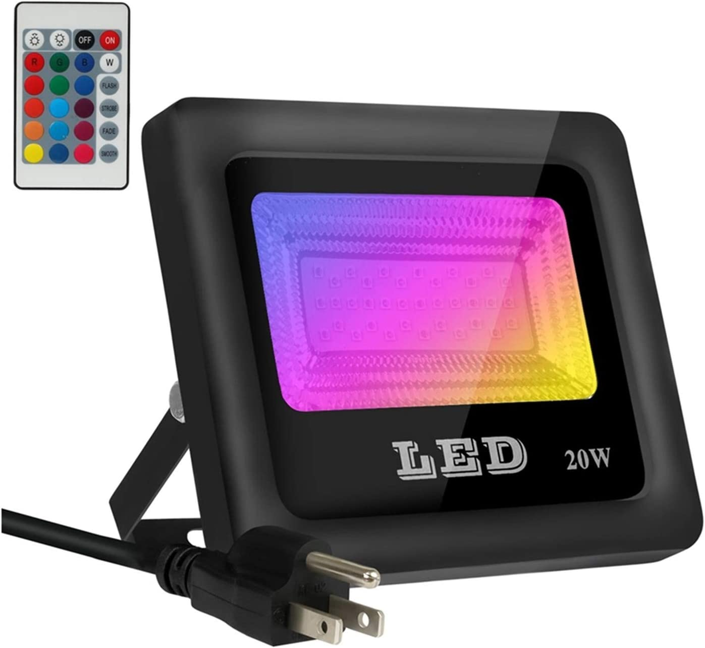 Telaso 20W RGB LED Flood Light, IP66 Waterproof, 16 Colors Changing 4 Lighting Modes with Remote Control, US 3-Plug in Outdoor Security Wall Light for Home Garden, Backyard, Patio, Garage