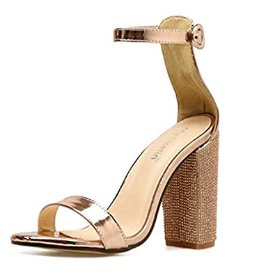 64274dfe994 Women s Champagne Diamond Chunky Block High Heel Sandals Sparkle Glitter Heels  Strappy Pump Shoes Champagne