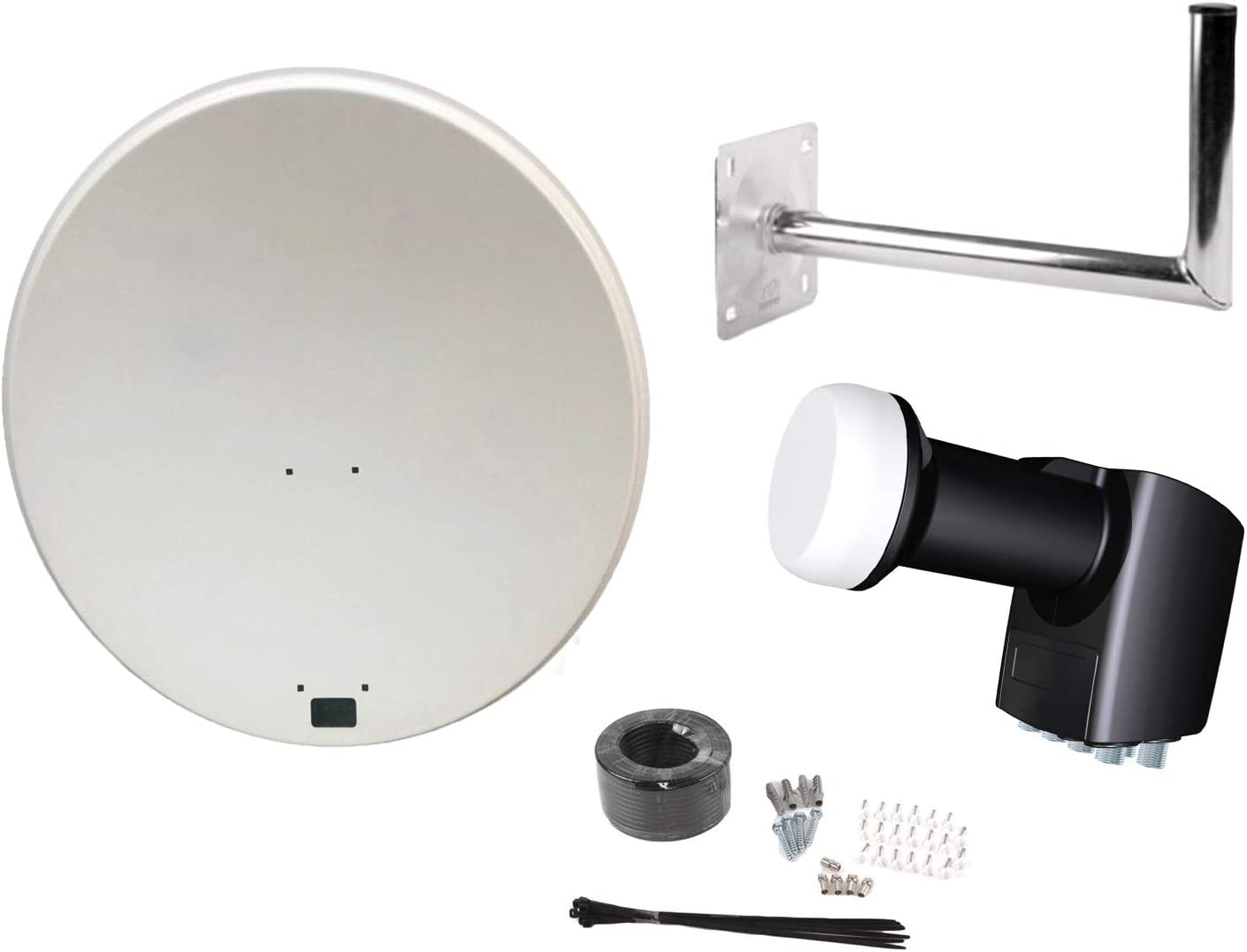 Antena parabólica SAB de 80 cm, antena parabólica, montaje en pared, cable de 20 metros, tornillos, bridas, clips para cables, portaplacas, kit de ...