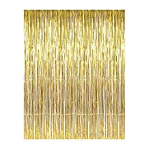 Aspire Wholesale Long Foil Fringe Photo Backdrops Doorway Window Tinsel Party Curtain Table Skirt 3 ft x 8 ft-Gold-Pack of 1