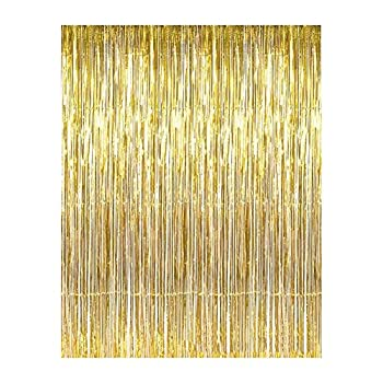 Aspire Wholesale Long Foil Fringe Photo Backdrops Doorway Window Tinsel Party Curtain Table Skirt 3 ft x 8 ft-Gold-pack of 2
