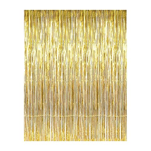 Aspire Wholesale Long Foil Fringe Photo Backdrops Doorway Window Tinsel Party Curtain Table Skirt 3 ft x 8 ft-Gold-pack of 2 (Long Tinsel)