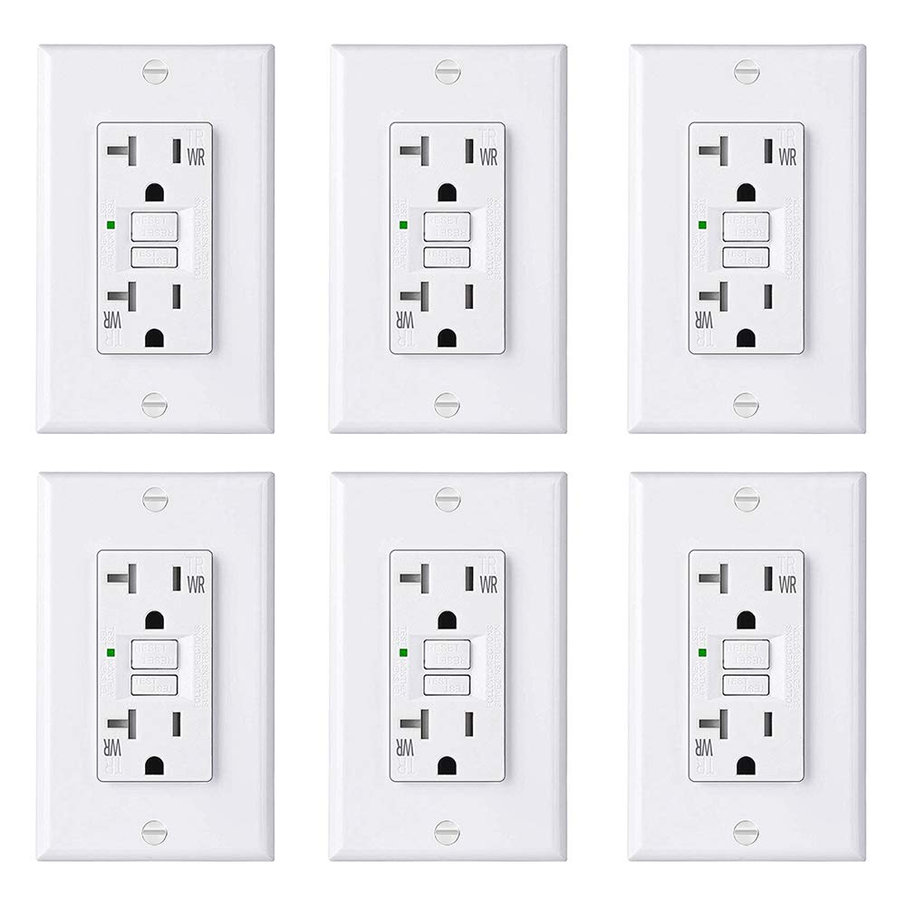 [6 Pack] BESTTEN Slim 20A WR GFCI Outlet, USG5 Series, Outdoor-Weather-Resistant, Self-Test GFI Tamper-Resistant (TR) Receptacle with LED Indicator, Decorator Wall Plate Included, UL Listed, White