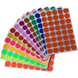 Round stickers 3/4 inch in 13 Assorted Colored Sticker Dots 19mm 3/4 inch - 520 Pack by Royal Green