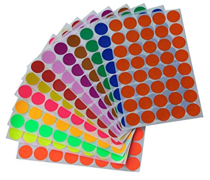 Round stickers 3 4 inch in 13 assorted colored sticker dots 19mm 3 4