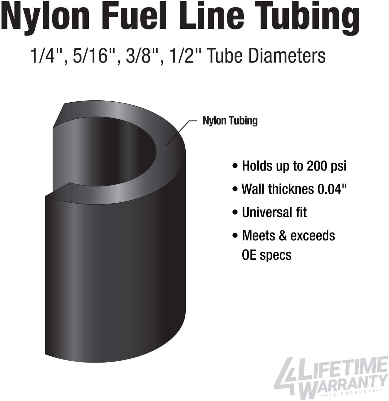 OD.25//200 PSI B.P. Specs 1//4 x 25ft Nylon Fuel Line Exceeds all O.E