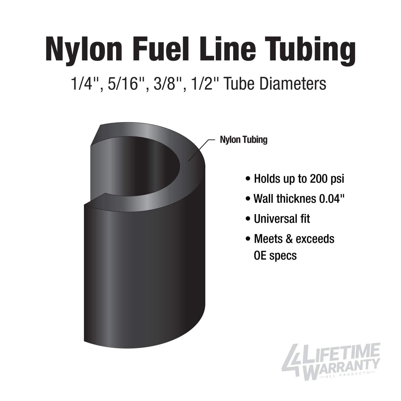 OD.313//200 PSI B.P. 5//16 x 25ft Nylon Fuel Line Exceeds all O.E Specs