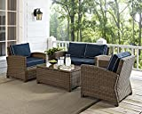 Crosley Furniture Bradenton 4-Piece Outdoor Wicker Conversation Set with Cushions – Navy For Sale