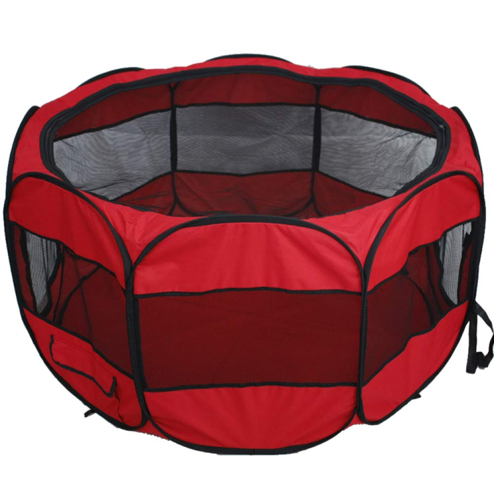 Red Large Red Large FZKJJXJL Pet Fence Portable Foldable Dog Cat Fence Indoor Wear Oxford Cloth Waterproof Fabric Kennel Tent Universal Black,Red-L