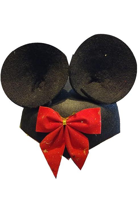 Cappello Minnie Mouse nero con orecchie in feltro per travestirsi da  topolina o topolino (rimuovendo 91098a64b4ab