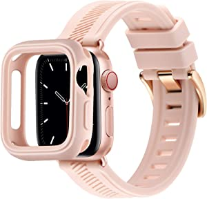 BesBand Compatible with Apple Watch Bands 44mm 42mm 40mm 38mm, Soft Silicone Waterproof Sport Band Loop with Protective Case for iWatch Series 6/5/4/3/2/1&SE (Pink Sand/Rose Gold, 38mm/40mm)