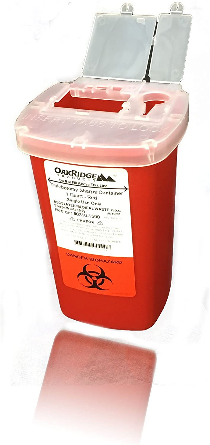 Oakridge Products 1 Quart size Sharps and Needle Container. Integrated needle unwinder