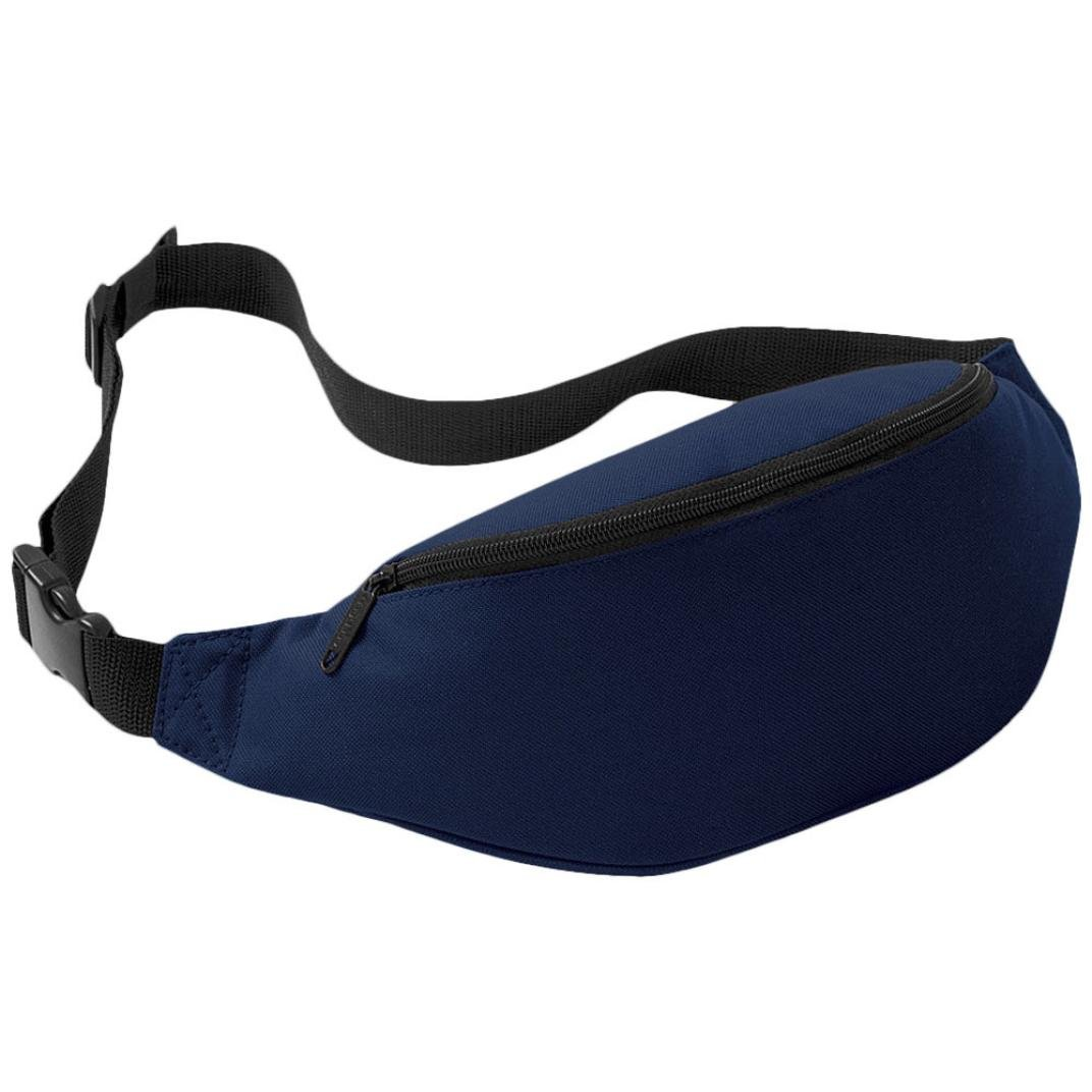 Perman Unisex Outdoor Sports Running Oxford Solid Color Stylish Waist Pack Bag 2L (Deep Blue)