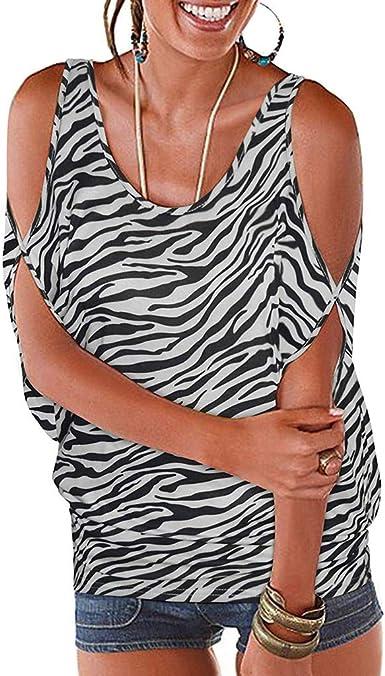 Darringls Camisetas para Mujer, Mujeres de Plumas de Manga Corta Fuera del Hombro Camisa de Blusa Suelta de Cuello Redondo de Verano Tops Casuales Estampado Leopardo: Amazon.es: Ropa y accesorios