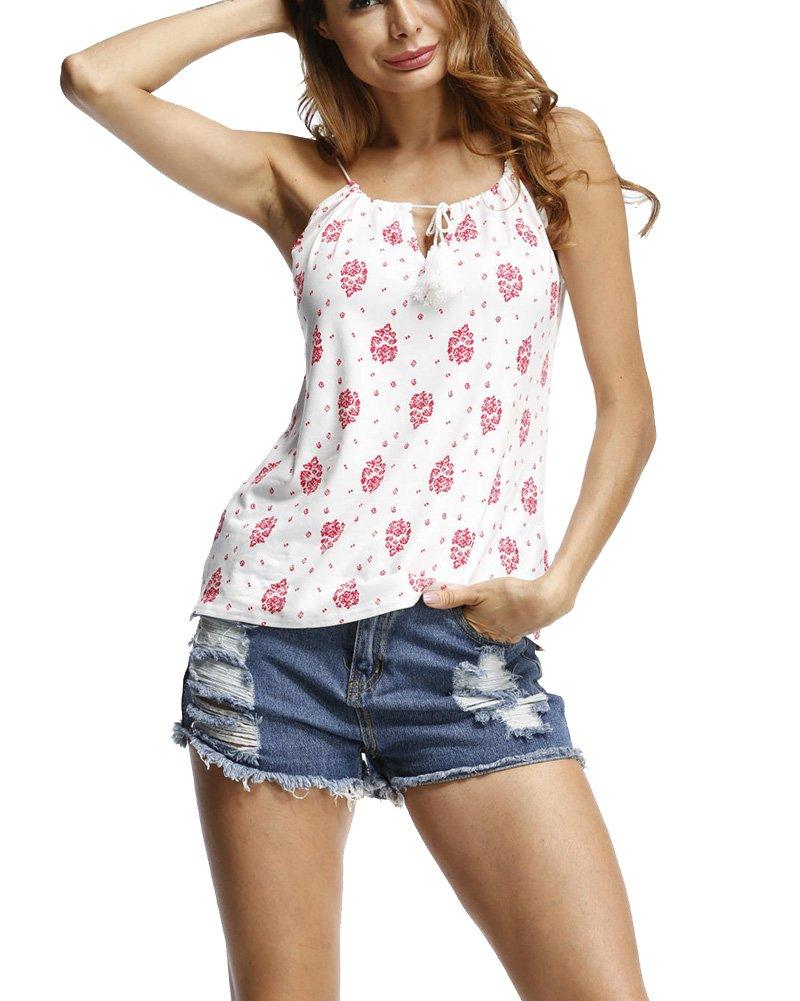 Mujer Flores Imprimir Camisa Estampadas Sin Mangas Chaleco Tank Top Blusa Camiseta