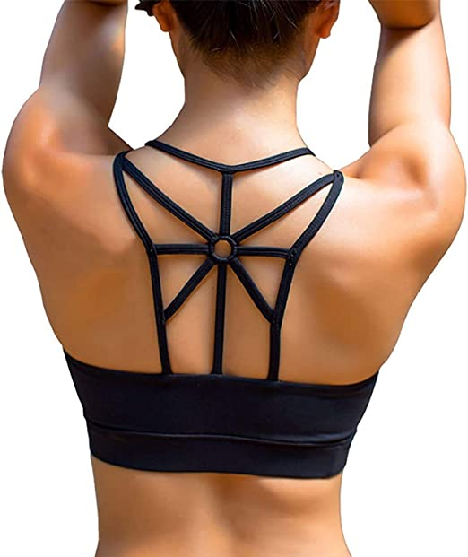SPORTTIN Sports Bra for Women High or Low Impact Cross-Back Yoga Bras with Removable Pad