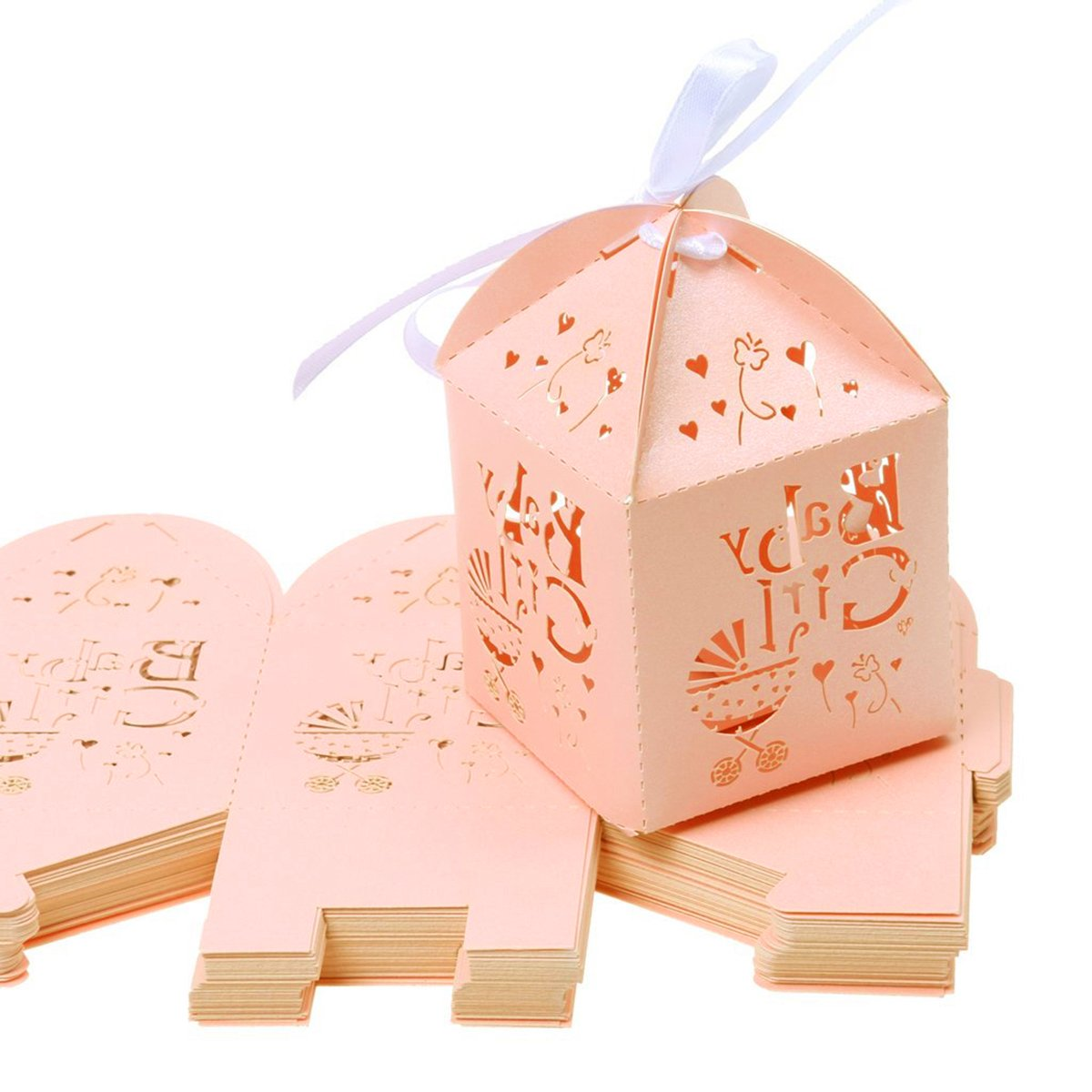 Amazon.com: LUOEM Laser Cut Bird Favor Boxes,Wedding Favor Candy ...
