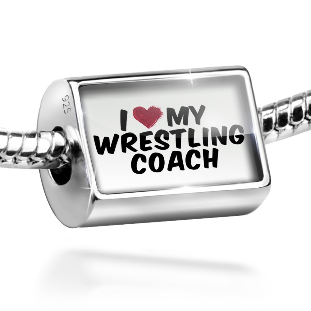 Sterling Silver Bead I heart love my Wrestling Coach Charm by NEONBLOND