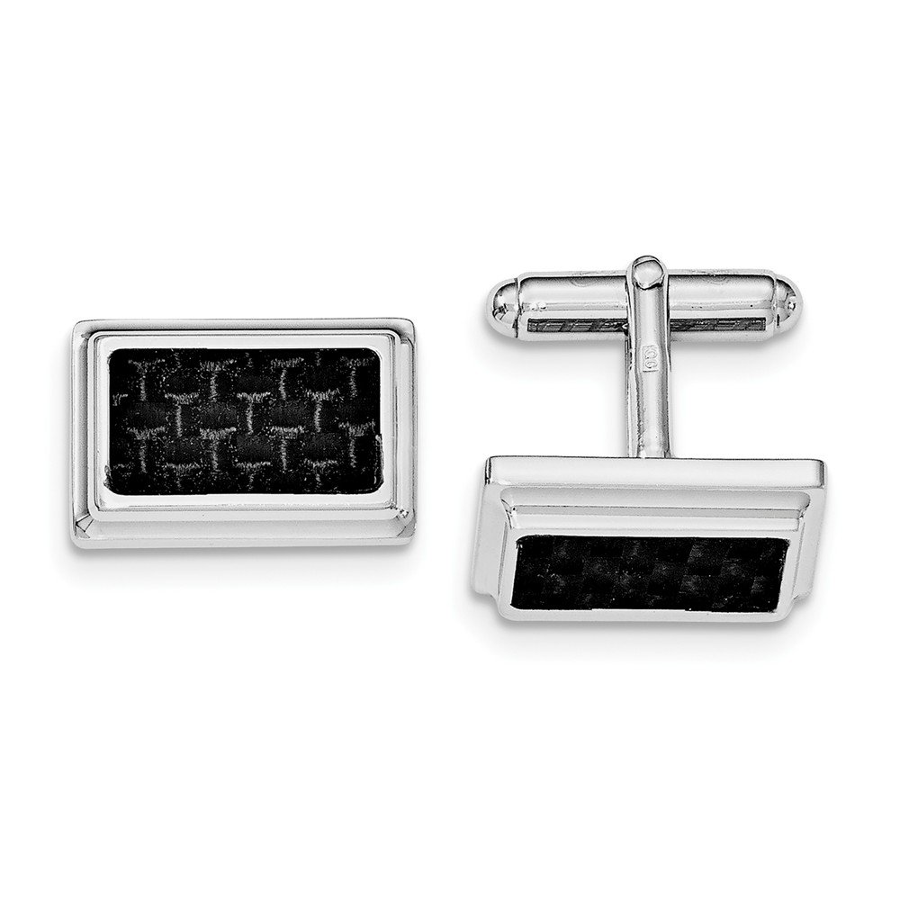 Sterling Silver Rhodium Plated Cuff Links with Carbon fiber