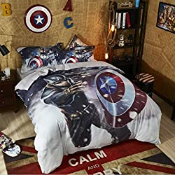 Haru Homie Luxurious 100% Cotton Duvet Cover 3D Captain America Kids Reversible Bedding Set With Zipper Closure - Comfortable, Fade Resistant and Extremely Durable, Full/Queen