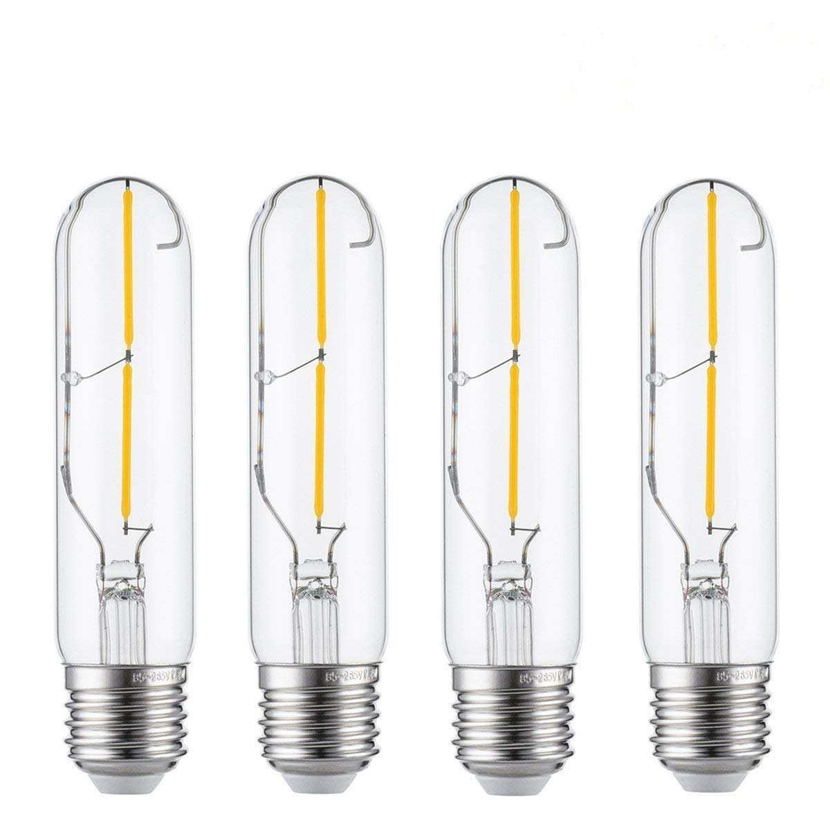 Vintage Edison LED Bulb Non Dimmable Clear Glass COB Tubular Filament Bulb KINGSO 2W Antique LED Bulb E26 Medium Base 2700K Warm White T10 Pack of 4