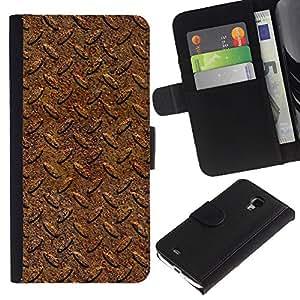 """Samsung Galaxy S4 Mini i9190 / i9195 (Not For Galaxy S4) , la tarjeta de Crédito Slots PU Funda de cuero Monedero caso cubierta de piel ("""" Tire Pattern Car Metal Texture Design"""")"""