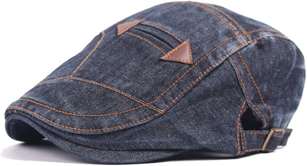 HYF Beret Hats for Women Spring Autumn Wool Ladies Fashion Men Washed Denim Cap Fake Pocket