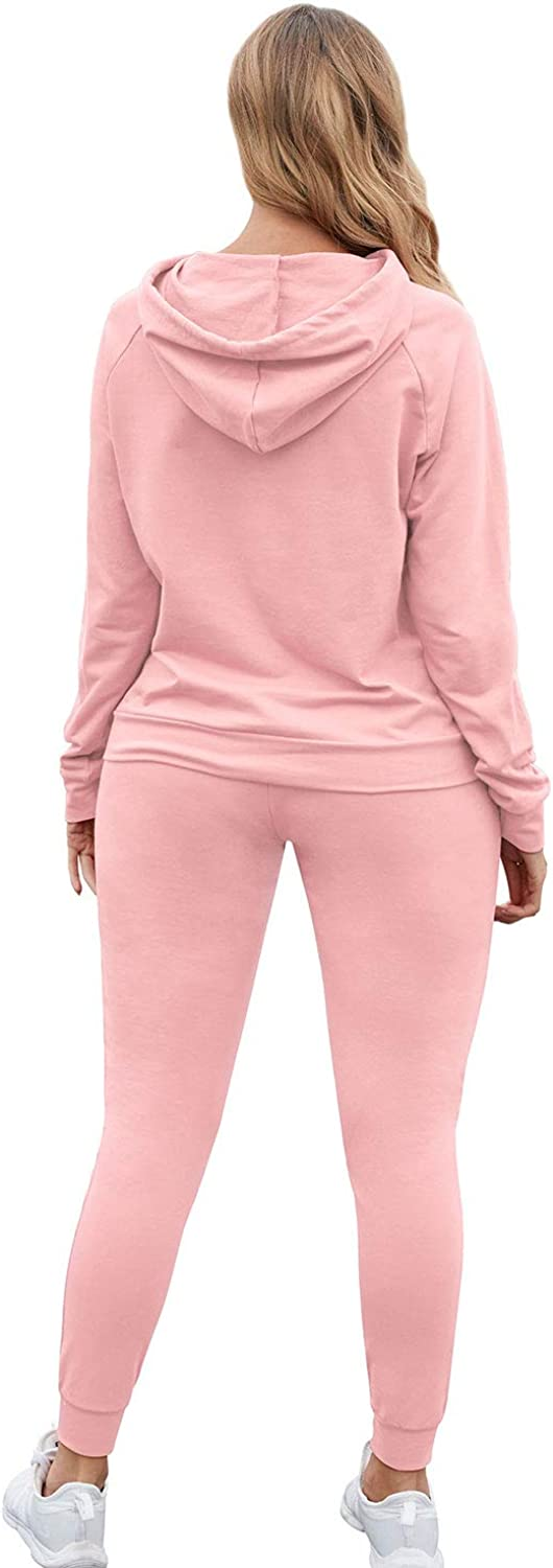 Womens Casual Sweatsuit Pullover Hoodie Jogger Pants Sport 2 Piece Outfits Set