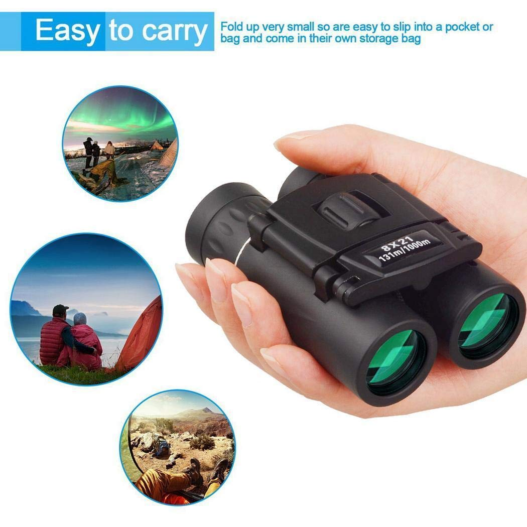 8x21 Binocular Telescope HD Portable Travel Spectators Viewing for Competition, Bird Watching, Camping, Hiking by Wenirn