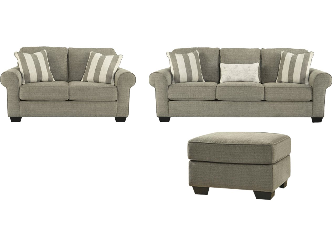 Signature Design by Ashley Baveria Living Room Set with Sofa - Loveseat and Ottoman
