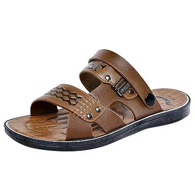 a137a82032e1f Men's Leather Flat Sandals Non-Slip Sandals Casual Slip on Slipper Summer  Outdoor Open Toe Buckle Strap Beach Sandals