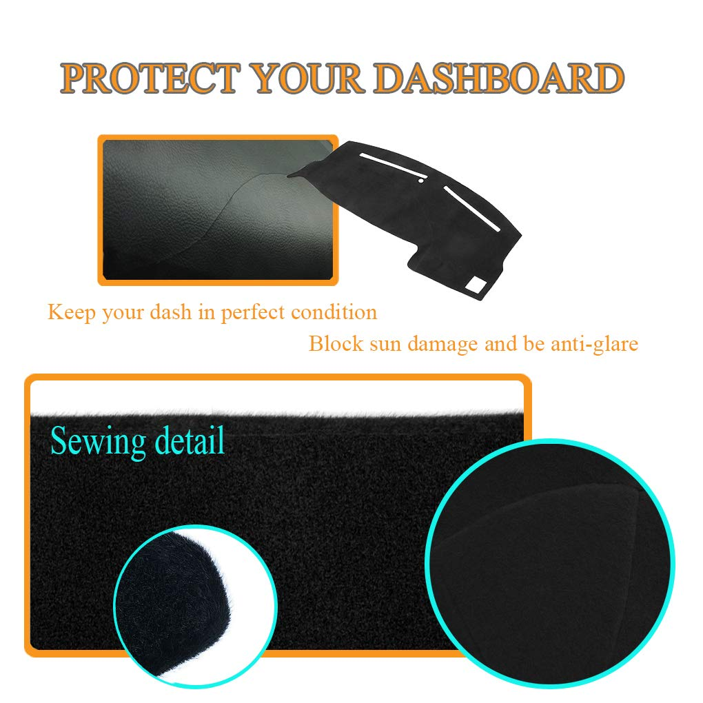 Dash Cover Dashboard Cover Mat Pad for Dodge Charger 2011-2018 Black Y03