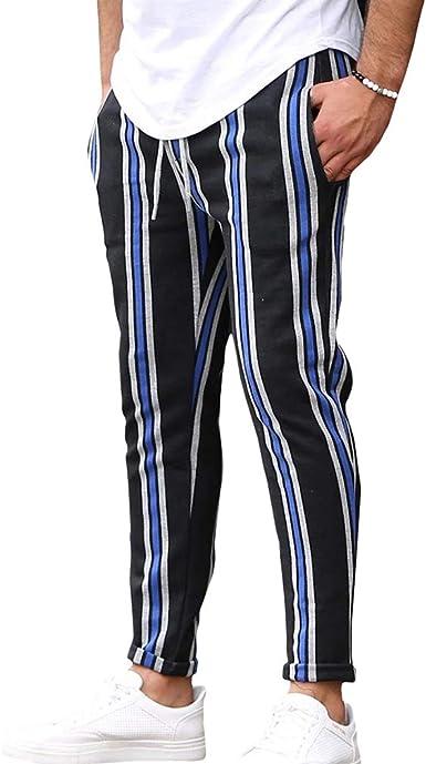 Mxssi Pantalones Algodón Hombres Pantalones Largos de Rayas ...