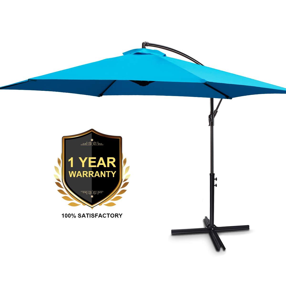 FRUITEAM Offset Hanging Umbrellas 10 Feet Outdoor Patio Garden Umbrellas Market Umbrella with Auto Tilt & Cross Base, Cantilever Offset Umbrella Waterproof UV Protection, Sky Blue