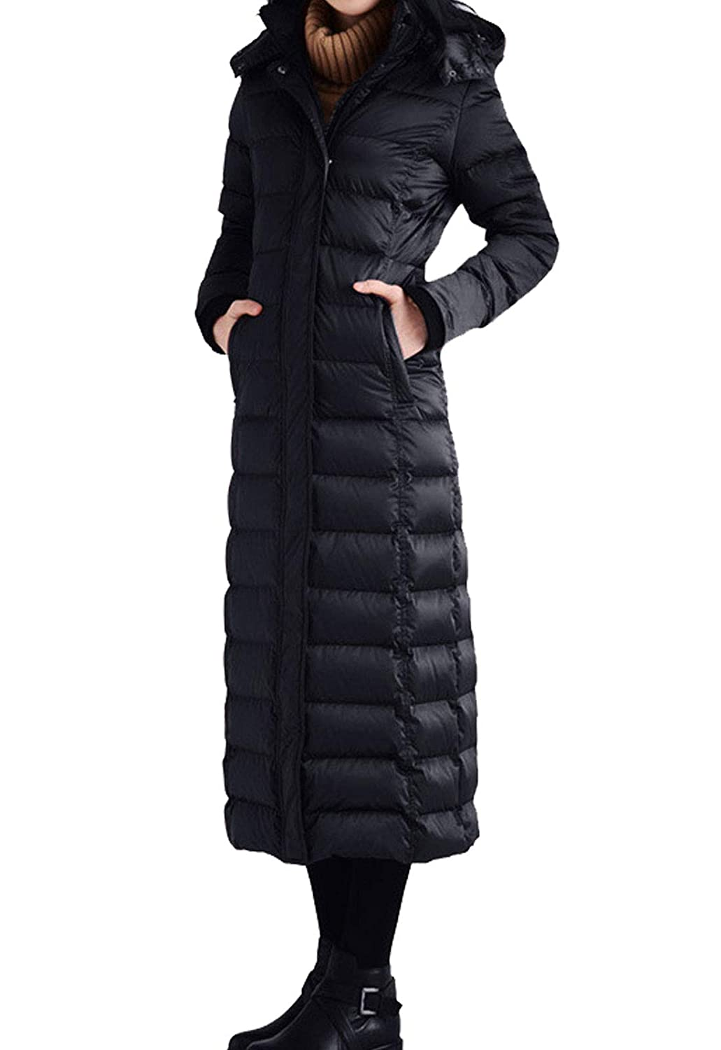 Black(no Faux Fur Collar) Flygo Women's Winter Thicken Hooded Maxi Down Coat Removable Faux Fur Collar