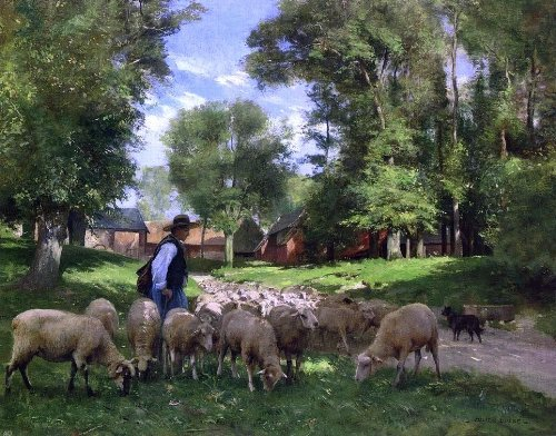 Julien Dupre A Shepherd and His Flock - 21'' x 28'' 100% Hand Painted Oil Painting Reproduction