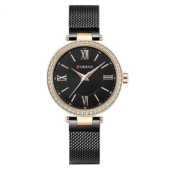 LONGQI Reloj de pulsera de cuarzo con cristales de imitación de malla para mujer reloj de pulsera con números romanos caja redonda: Amazon.es: Relojes